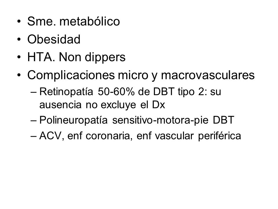 Anatomía patológica Nefromegalia: glomerulomegalia, aumento de asas capilares, aumento intersiticial Engrosamiento MBG Glomeruloesclerosis nodular Glomeruloesclerosis difusa Disminución de podocitos Depósitos hialinos arteriolares, aferentes y eferentes FIAT/ infiltrados Lesión de Armani-Ebstein (glucógeno en epitelio tubular)