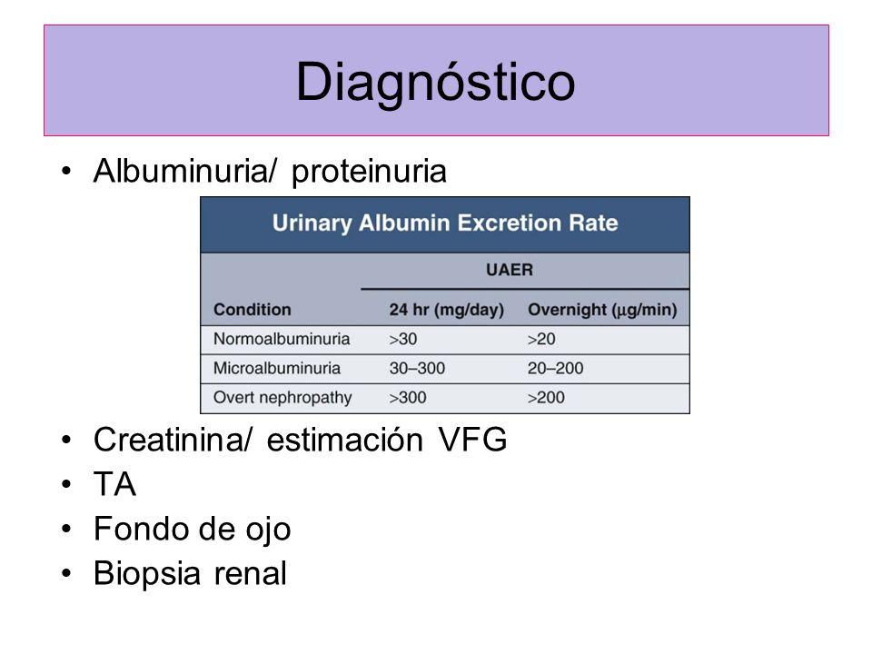 Diagnóstico Albuminuria/ proteinuria Creatinina/ estimación VFG TA Fondo de ojo Biopsia renal