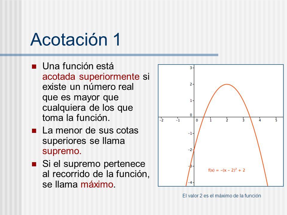 Acotación 1 Una función está acotada superiormente si existe un número real que es mayor que cualquiera de los que toma la función. La menor de sus co