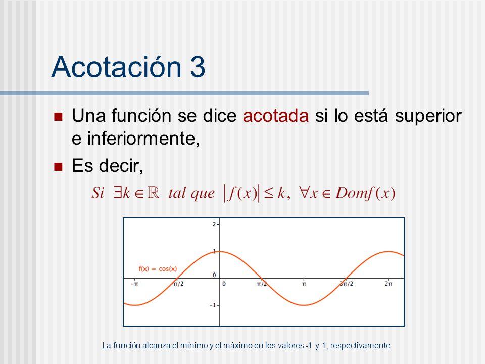 Acotación 3 Una función se dice acotada si lo está superior e inferiormente, Es decir, La función alcanza el mínimo y el máximo en los valores -1 y 1,