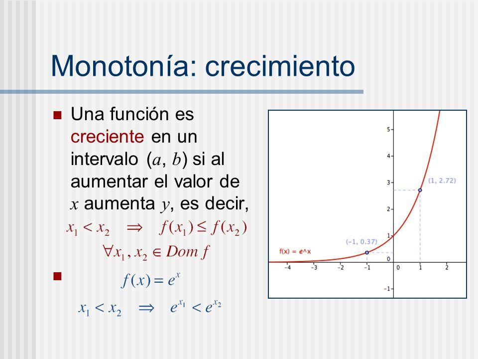 Monotonía: crecimiento Una función es creciente en un intervalo ( a, b ) si al aumentar el valor de x aumenta y, es decir,