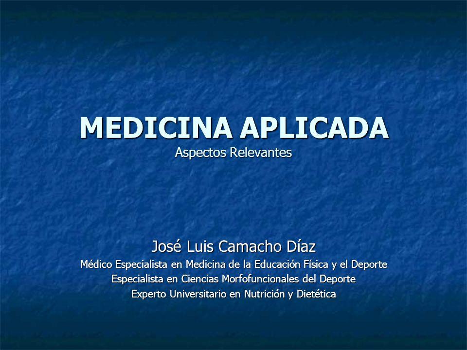 MEDICINA APLICADA Aspectos Relevantes José Luis Camacho Díaz Médico Especialista en Medicina de la Educación Física y el Deporte Especialista en Cienc