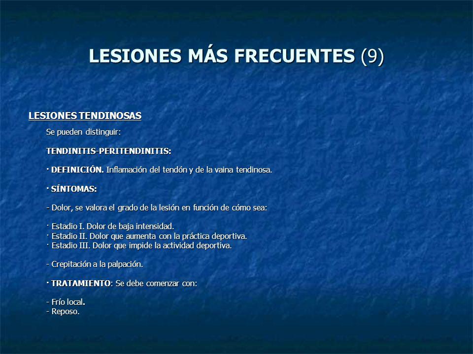 LESIONES MÁS FRECUENTES (9) LESIONES TENDINOSAS Se pueden distinguir: TENDINITIS-PERITENDINITIS: · DEFINICIÓN. Inflamación del tendón y de la vaina te