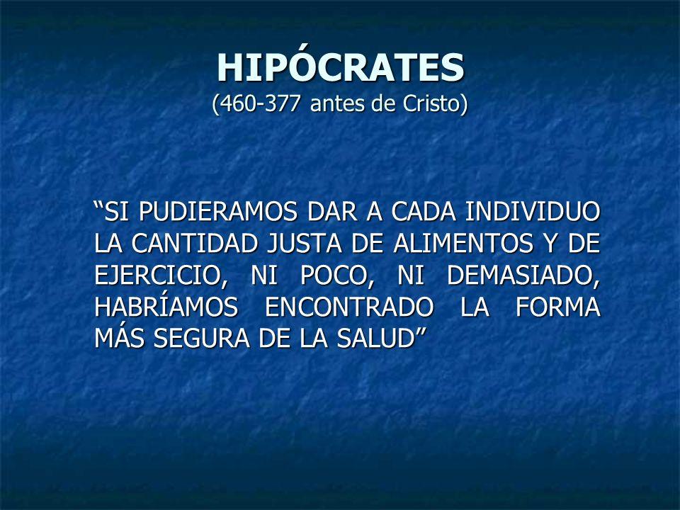 HIPÓCRATES (460-377 antes de Cristo) SI PUDIERAMOS DAR A CADA INDIVIDUO LA CANTIDAD JUSTA DE ALIMENTOS Y DE EJERCICIO, NI POCO, NI DEMASIADO, HABRÍAMO