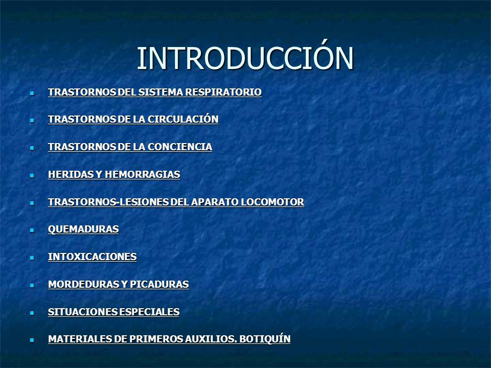 INTRODUCCIÓN TRASTORNOS DEL SISTEMA RESPIRATORIO TRASTORNOS DEL SISTEMA RESPIRATORIO TRASTORNOS DE LA CIRCULACIÓN TRASTORNOS DE LA CIRCULACIÓN TRASTOR