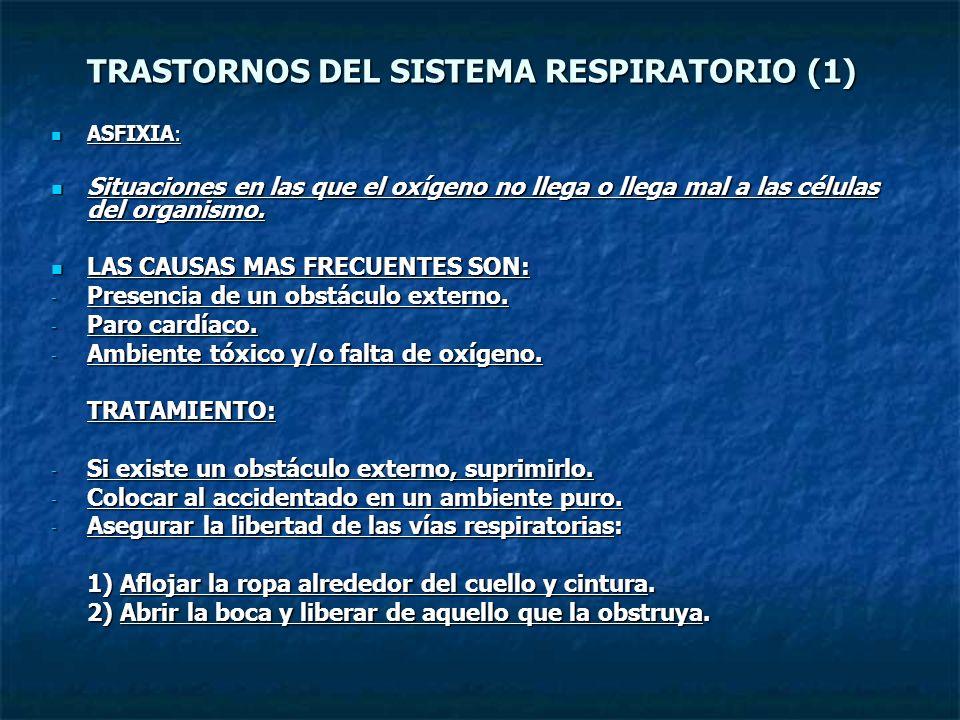 TRASTORNOS DEL SISTEMA RESPIRATORIO (1) ASFIXIA: ASFIXIA: Situaciones en las que el oxígeno no llega o llega mal a las células del organismo. Situacio