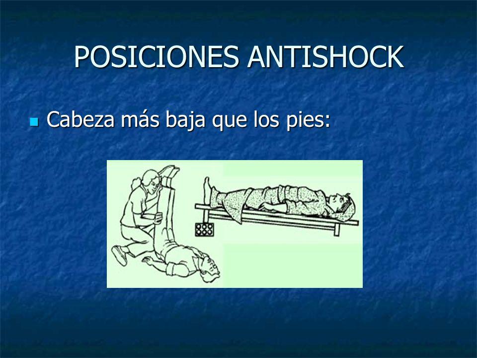 POSICIONES ANTISHOCK Cabeza más baja que los pies: Cabeza más baja que los pies: