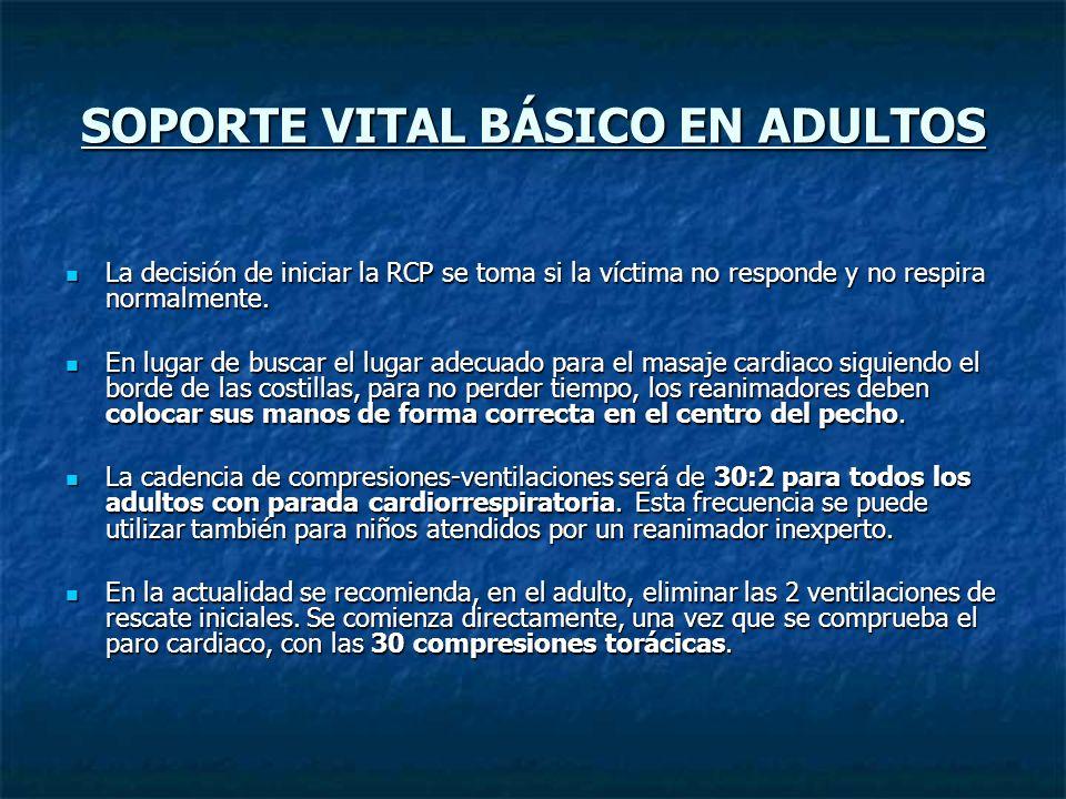 SOPORTE VITAL BÁSICO EN ADULTOS La decisión de iniciar la RCP se toma si la víctima no responde y no respira normalmente. La decisión de iniciar la RC