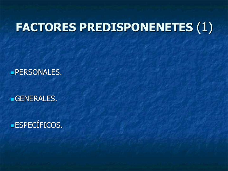 FACTORES PREDISPONENETES (1) PERSONALES. PERSONALES. GENERALES. GENERALES. ESPECÍFICOS. ESPECÍFICOS.