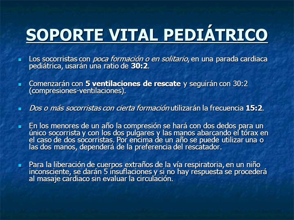 SOPORTE VITAL PEDIÁTRICO Los socorristas con poca formación o en solitario, en una parada cardiaca pediátrica, usarán una ratio de 30:2. Los socorrist