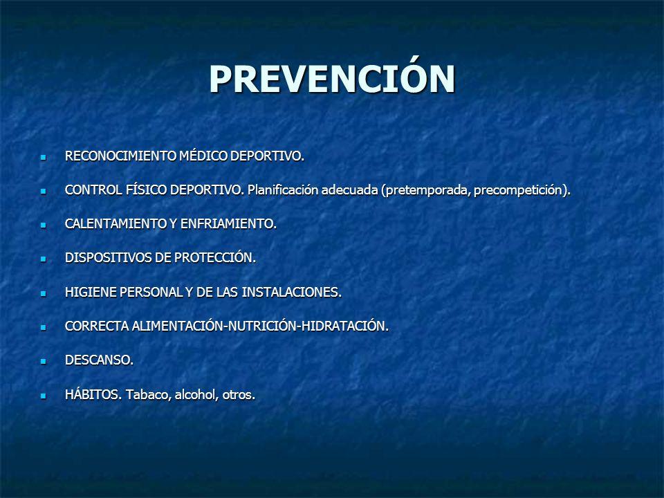 PREVENCIÓN RECONOCIMIENTO MÉDICO DEPORTIVO. RECONOCIMIENTO MÉDICO DEPORTIVO. CONTROL FÍSICO DEPORTIVO. Planificación adecuada (pretemporada, precompet