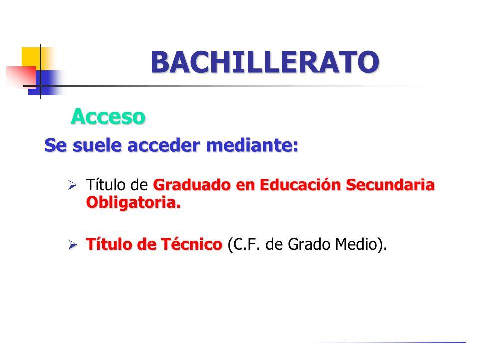 BACHILLERATO Graduado en Educación Secundaria Obligatoria. Título de Graduado en Educación Secundaria Obligatoria. Título de Técnico Título de Técnico