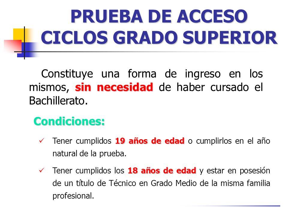 PRUEBA DE ACCESO CICLOS GRADO SUPERIOR sin necesidad Constituye una forma de ingreso en los mismos, sin necesidad de haber cursado el Bachillerato. 19