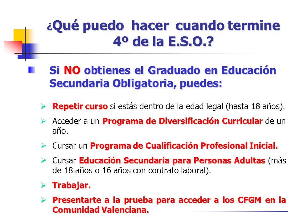¿ Qué puedo hacer cuando termine 4º de la E.S.O.? Si NO obtienes el Graduado en Educación Secundaria Obligatoria, puedes: Repetir curso Repetir curso