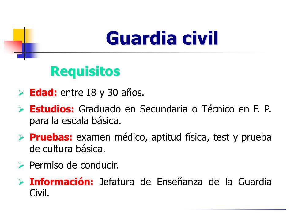 Guardia civil Edad: Edad: entre 18 y 30 años. Estudios: Estudios: Graduado en Secundaria o Técnico en F. P. para la escala básica. Pruebas: Pruebas: e