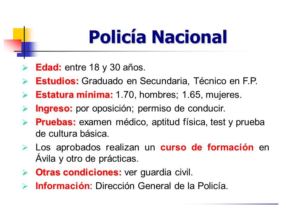 Policía Nacional Edad: Edad: entre 18 y 30 años. Estudios: Estudios: Graduado en Secundaria, Técnico en F.P. Estatura mínima: Estatura mínima: 1.70, h