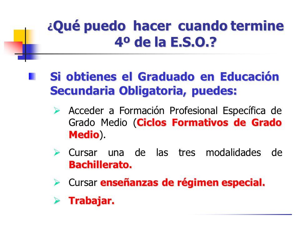 ¿ Qué puedo hacer cuando termine 4º de la E.S.O.? Si obtienes el Graduado en Educación Secundaria Obligatoria, puedes: Ciclos Formativos de Grado Medi