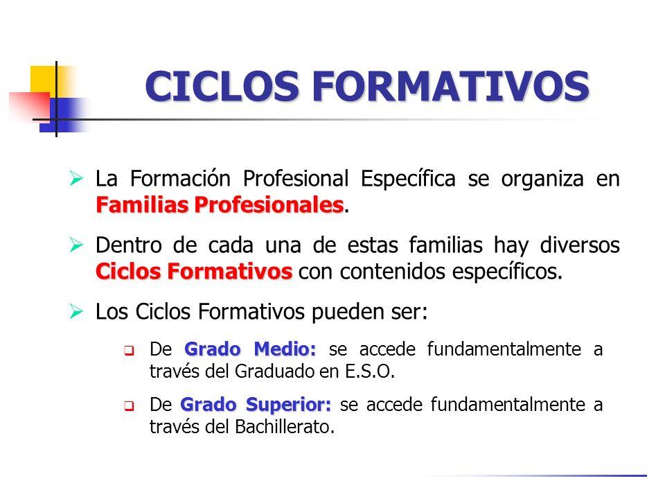 CICLOS FORMATIVOS Familias Profesionales La Formación Profesional Específica se organiza en Familias Profesionales. Ciclos Formativos Dentro de cada u