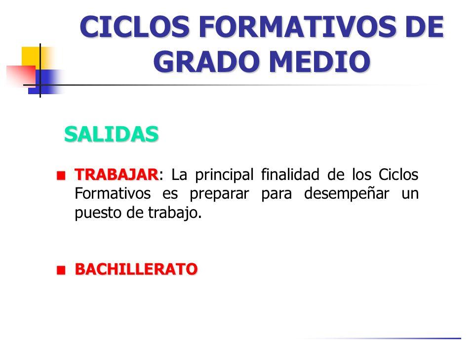 CICLOS FORMATIVOS DE GRADO MEDIO SALIDAS TRABAJAR TRABAJAR: La principal finalidad de los Ciclos Formativos es preparar para desempeñar un puesto de t