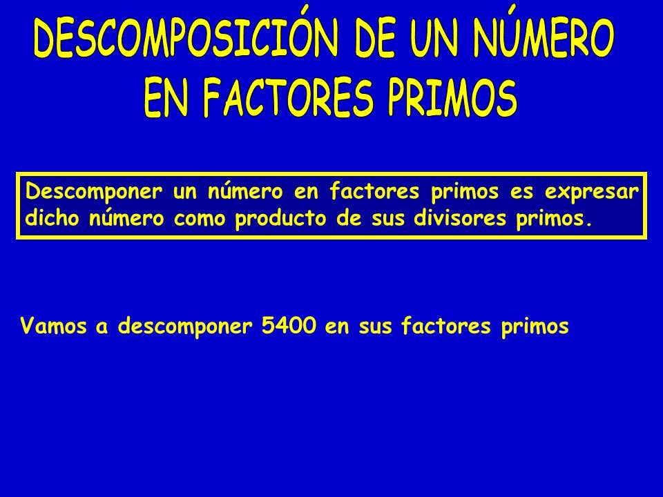 Vamos a descomponer 5400 en sus factores primos Descomponer un número en factores primos es expresar dicho número como producto de sus divisores primo