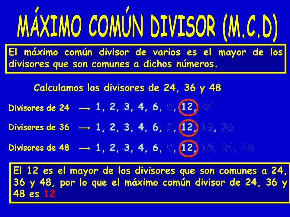 El máximo común divisor de varios es el mayor de los divisores que son comunes a dichos números. Calculamos los divisores de 24, 36 y 48 Divisores de