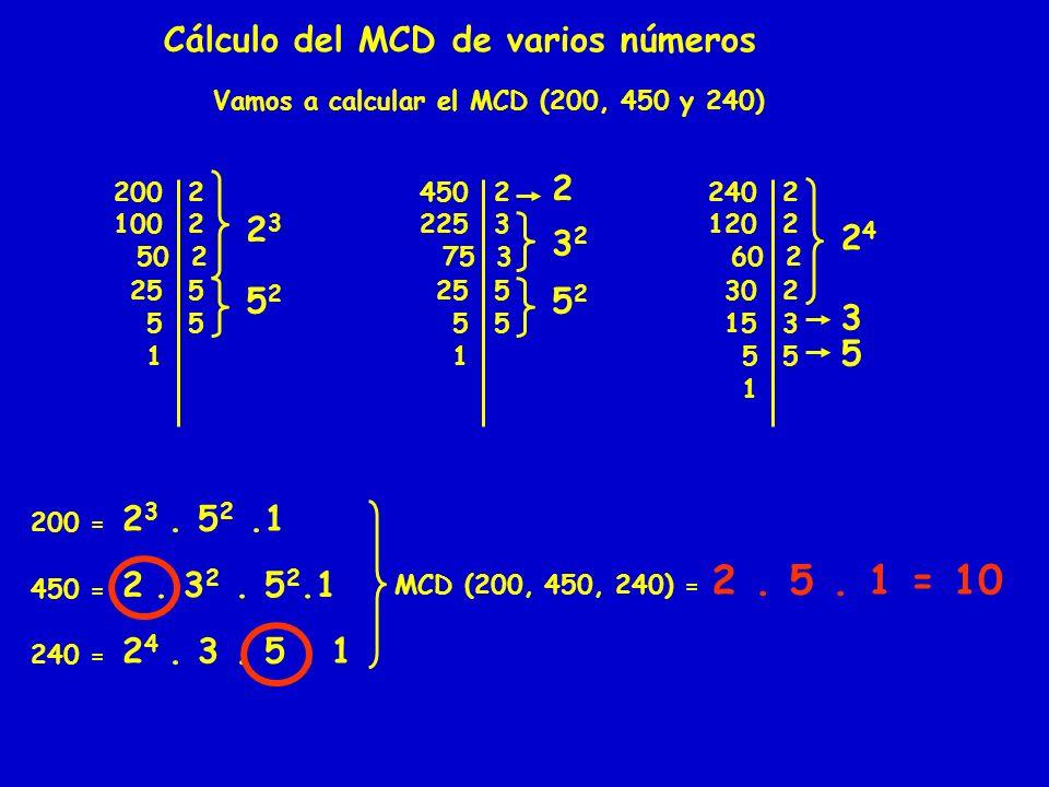 Cálculo del MCD de varios números Vamos a calcular el MCD (200, 450 y 240) 2002 1002 50 2 25 5 55 1 2323 5252 4502 2253 75 3 25 5 55 1 2 3232 5252 240