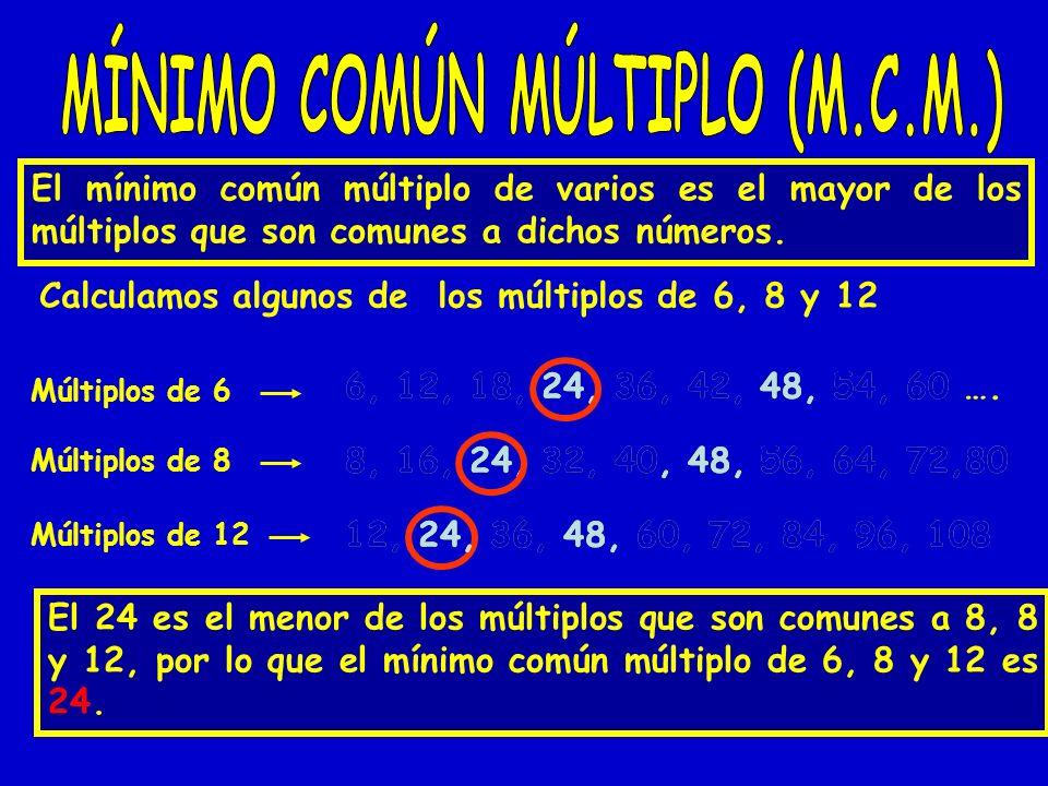 El mínimo común múltiplo de varios es el mayor de los múltiplos que son comunes a dichos números. Calculamos algunos de los múltiplos de 6, 8 y 12 Múl