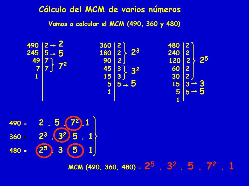 Cálculo del MCM de varios números Vamos a calcular el MCM (490, 360 y 480) 4902 2455 497 7 7 1 3602 1802 90 2 45 3 153 5 2323 3232 4802 2402 120 2 60