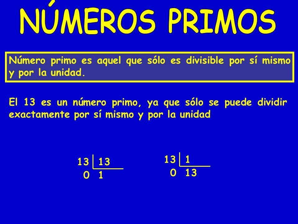 Número primo es aquel que sólo es divisible por sí mismo y por la unidad. El 13 es un número primo, ya que sólo se puede dividir exactamente por sí mi