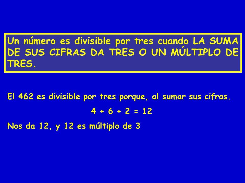 Un número es divisible por tres cuando LA SUMA DE SUS CIFRAS DA TRES O UN MÚLTIPLO DE TRES. El 462 es divisible por tres porque, al sumar sus cifras.