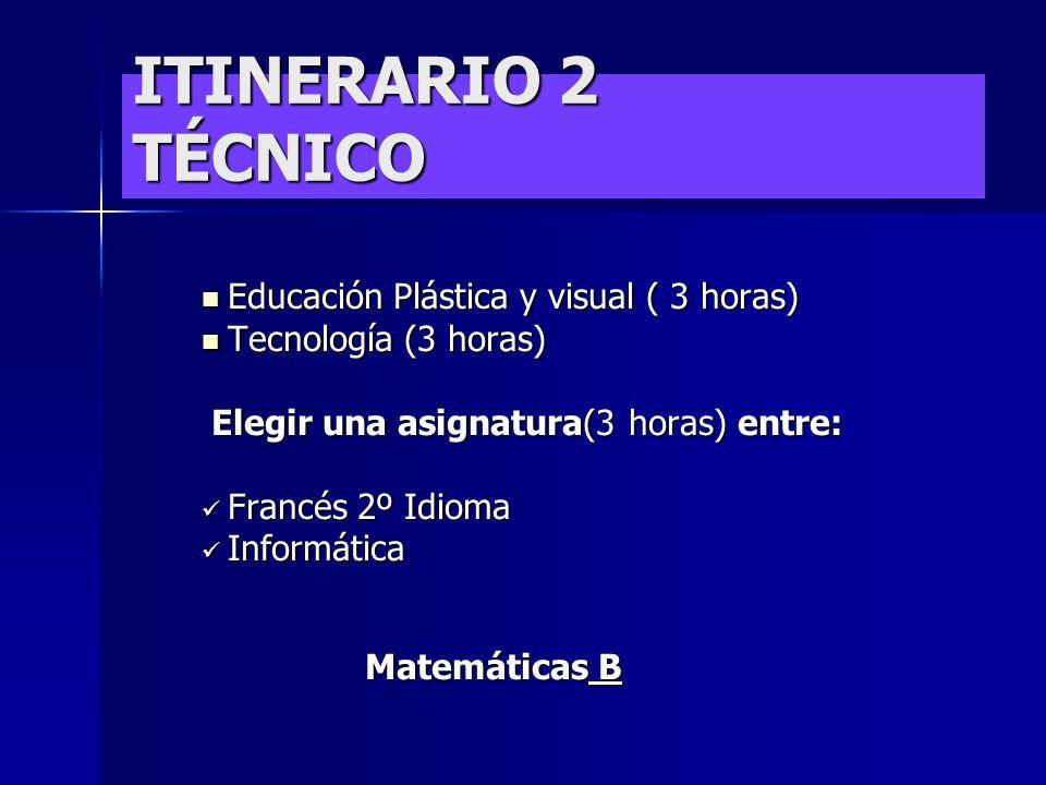 Física y Química (3 horas) Física y Química (3 horas) Biología y Geología (3 horas) Biología y Geología (3 horas) Elegir una asignatura (3 horas) entr