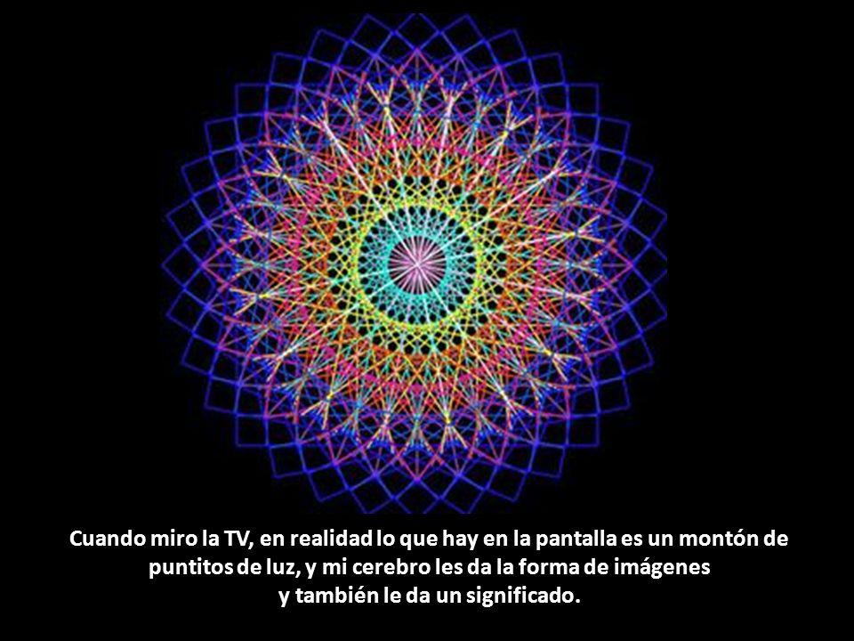 Cuando miro la TV, en realidad lo que hay en la pantalla es un montón de puntitos de luz, y mi cerebro les da la forma de imágenes y también le da un significado.