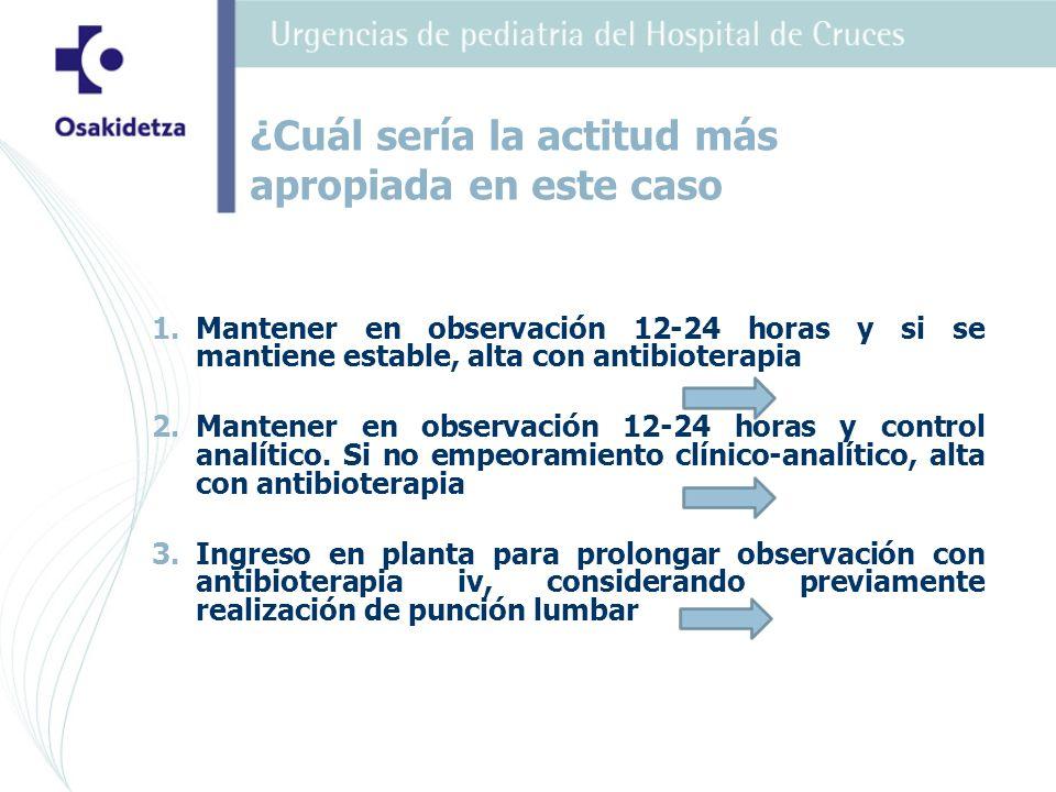 1. 1.Mantener en observación 12-24 horas y si se mantiene estable, alta con antibioterapia 2.
