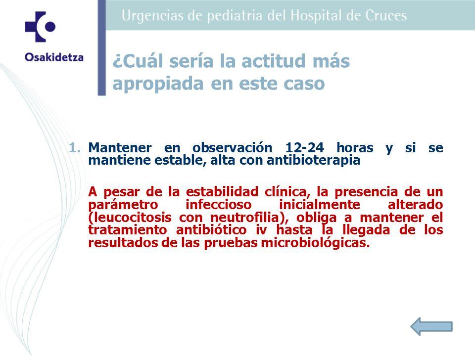 1. 1.Mantener en observación 12-24 horas y si se mantiene estable, alta con antibioterapia A pesar de la estabilidad clínica, la presencia de un parám