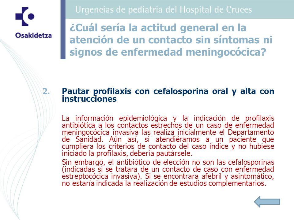 2. 2.Pautar profilaxis con cefalosporina oral y alta con instrucciones La información epidemiológica y la indicación de profilaxis antibiótica a los c