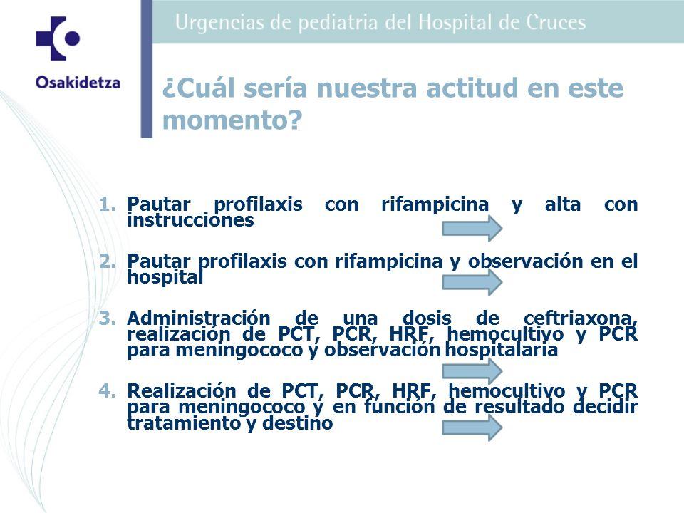 1. 1.Pautar profilaxis con rifampicina y alta con instrucciones 2.