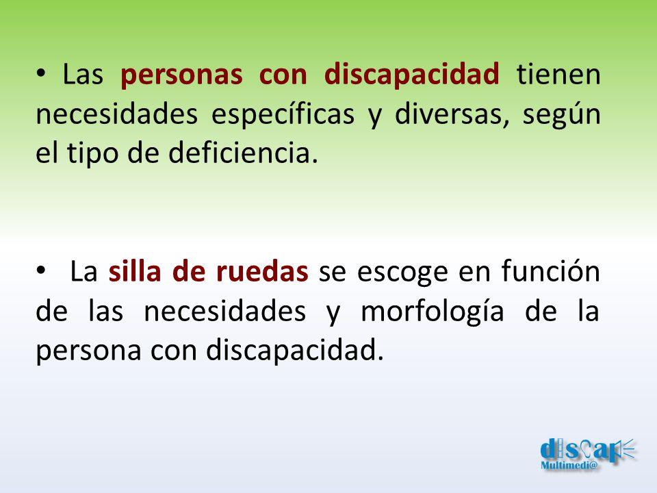 Las personas con discapacidad tienen necesidades específicas y diversas, según el tipo de deficiencia. La silla de ruedas se escoge en función de las