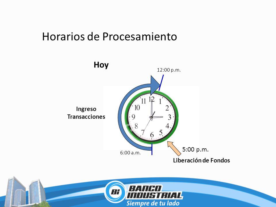 Horarios de Procesamiento 6:00 a.m. 12:00 p.m. Liberación de Fondos 5:00 p.m. Ingreso Transacciones Hoy