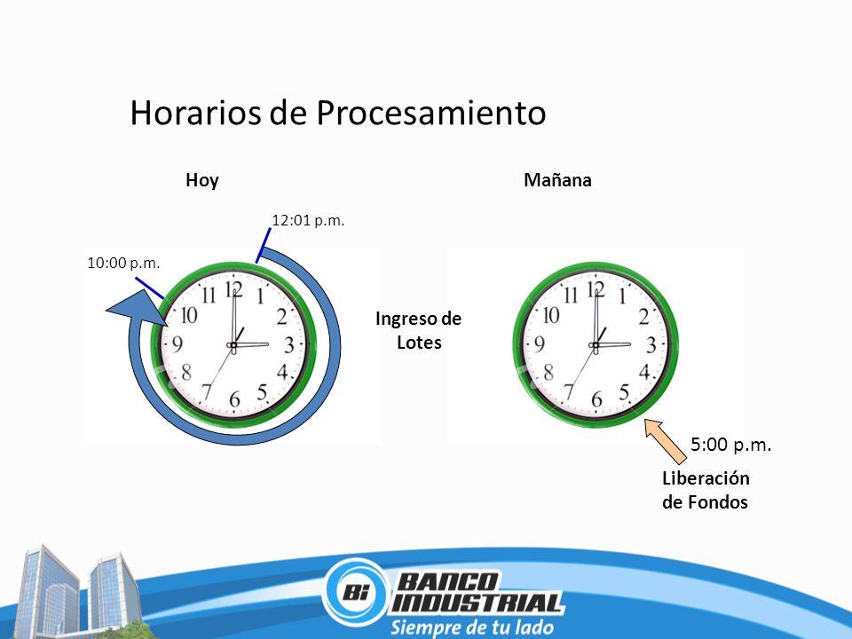 Horarios de Procesamiento Liberación de Fondos 5:00 p.m. 10:00 p.m. 12:01 p.m. Ingreso de Lotes HoyMañana