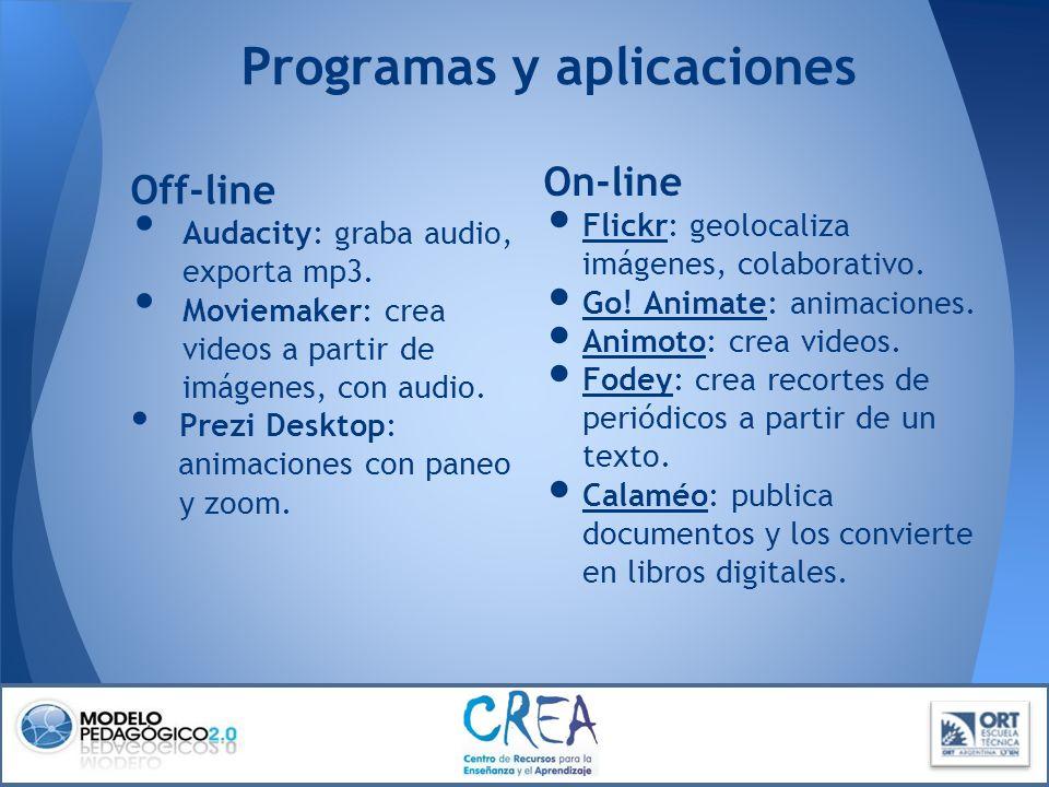 Programas y aplicaciones Off-line Audacity: graba audio, exporta mp3. Moviemaker: crea videos a partir de imágenes, con audio. Prezi Desktop: animacio