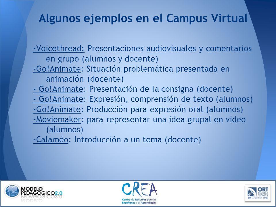 -Voicethread-Voicethread: Presentaciones audiovisuales y comentarios en grupo (alumnos y docente) -Go!Animate-Go!Animate: Situación problemática prese