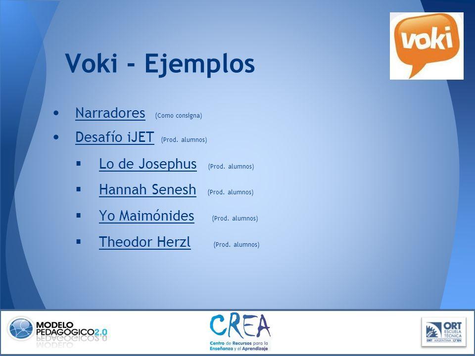 Voki - Ejemplos Narradores (Como consigna) Desafío iJET (Prod. alumnos) Desafío iJET Lo de Josephus (Prod. alumnos) Lo de Josephus Hannah Senesh (Prod