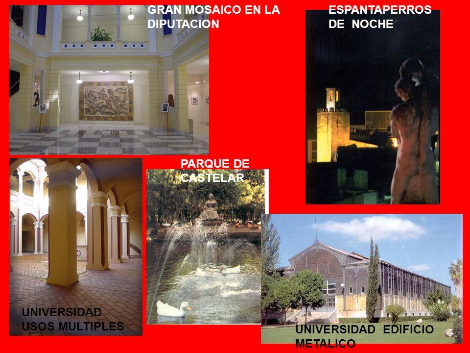 GRAN MOSAICO EN LA DIPUTACION ESPANTAPERROS DE NOCHE PARQUE DE CASTELAR UNIVERSIDAD USOS MULTIPLES UNIVERSIDAD EDIFICIO METALICO