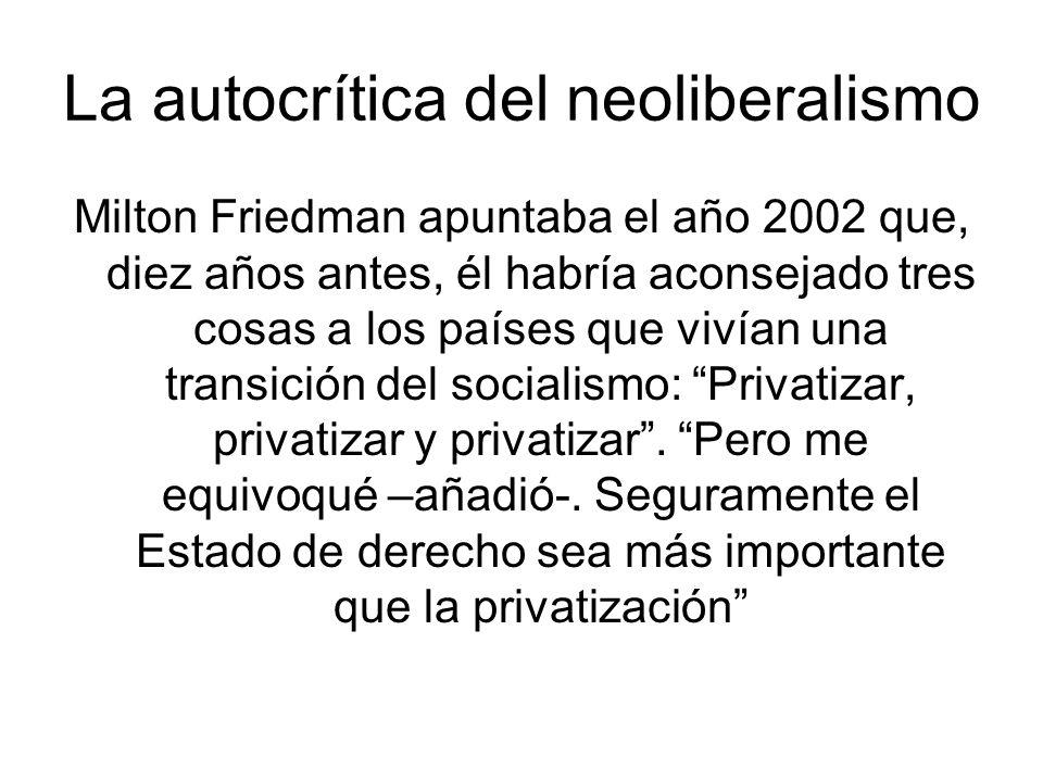 La autocrítica del neoliberalismo Milton Friedman apuntaba el año 2002 que, diez años antes, él habría aconsejado tres cosas a los países que vivían una transición del socialismo: Privatizar, privatizar y privatizar.