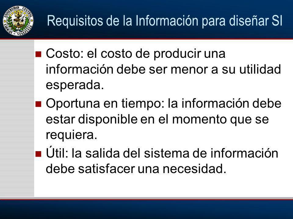 Requisitos de la Información para diseñar SI Costo: el costo de producir una información debe ser menor a su utilidad esperada.