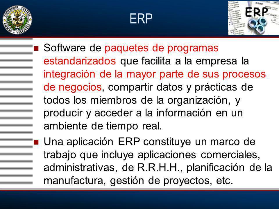ERP Software de paquetes de programas estandarizados que facilita a la empresa la integración de la mayor parte de sus procesos de negocios, compartir datos y prácticas de todos los miembros de la organización, y producir y acceder a la información en un ambiente de tiempo real.