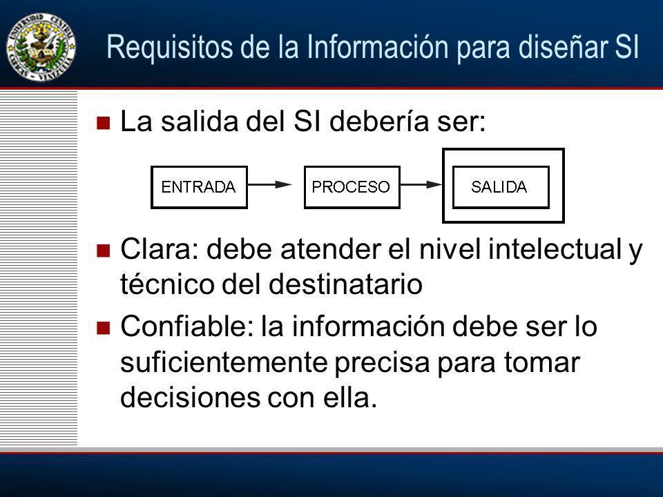 Requisitos de la Información para diseñar SI La salida del SI debería ser: Clara: debe atender el nivel intelectual y técnico del destinatario Confiable: la información debe ser lo suficientemente precisa para tomar decisiones con ella.