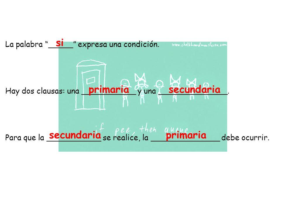 Clausa PrimariaClausa Secundaria Siel presente indicativo el futuro Si el imperfecto del subjuntivo tener = ___________ ser = ___________ poder= ___________ el condicional Si el pluscumperfecto del subjuntivo hubiera + ado/ido el condicional perfecto habría + ado/ido Son ejemplos de una categoría de clausas son si Hay 3 categorías- ¿cuál categoría se usa en los ejemplos?