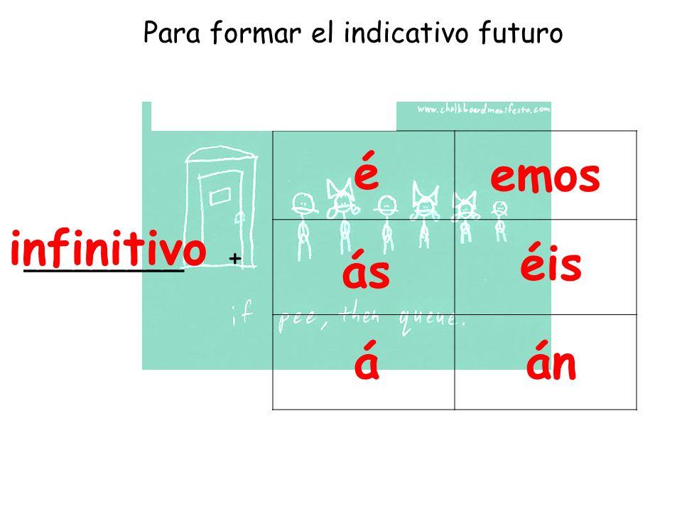 Para formar el indicativo futuro _________+ infinitivo é ás á emos éis án