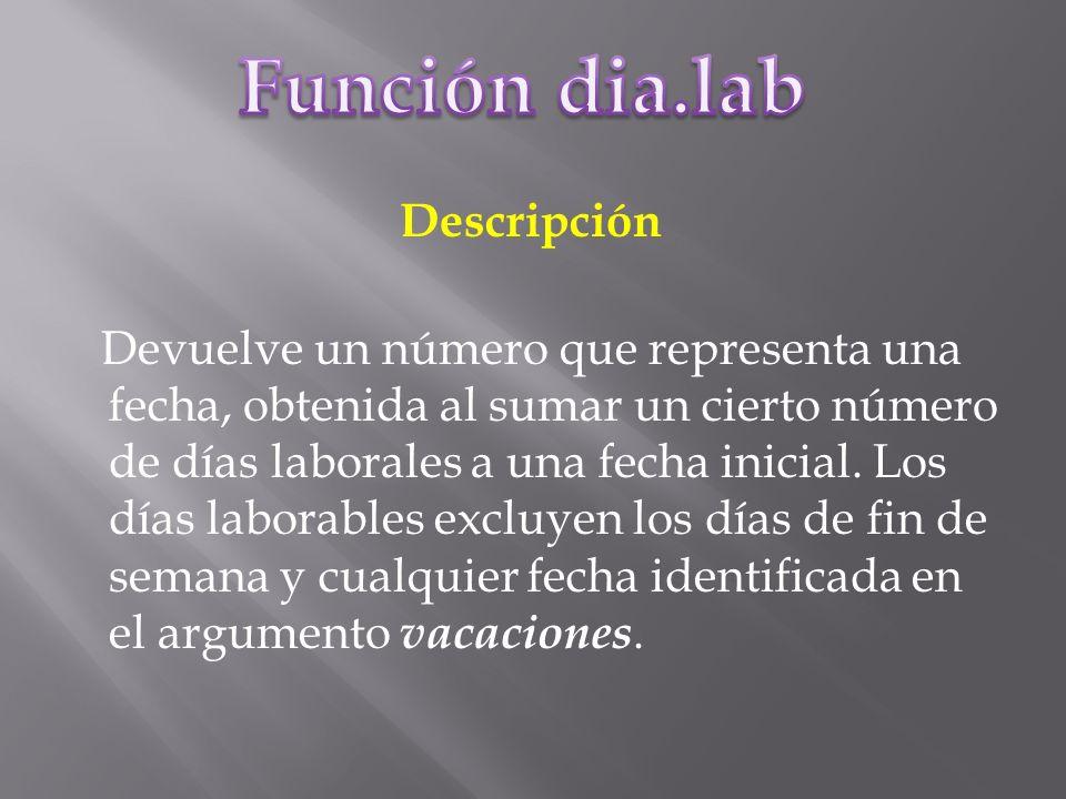 Descripción Devuelve un número que representa una fecha, obtenida al sumar un cierto número de días laborales a una fecha inicial.